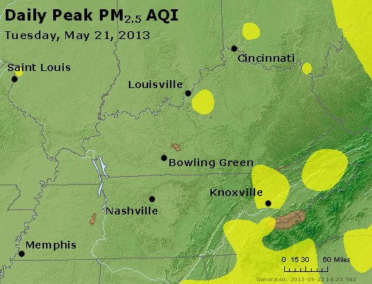 Peak Particles PM<sub>2.5</sub> (24-hour) - http://files.airnowtech.org/airnow/2013/20130521/peak_pm25_ky_tn.jpg