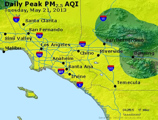 Peak Particles PM<sub>2.5</sub> (24-hour) - http://files.airnowtech.org/airnow/2013/20130521/peak_pm25_losangeles_ca.jpg