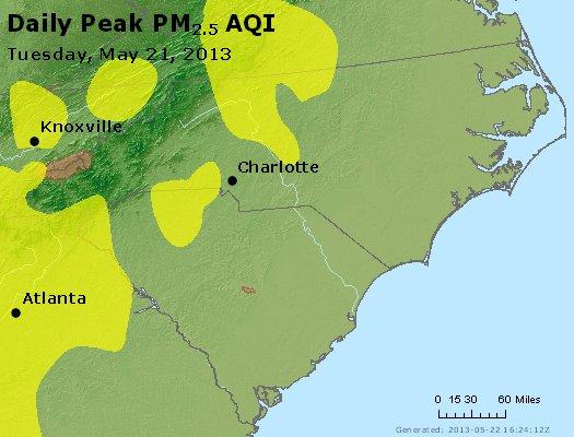 Peak Particles PM<sub>2.5</sub> (24-hour) - http://files.airnowtech.org/airnow/2013/20130521/peak_pm25_nc_sc.jpg