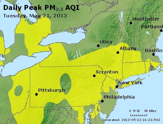 Peak Particles PM<sub>2.5</sub> (24-hour) - http://files.airnowtech.org/airnow/2013/20130521/peak_pm25_ny_pa_nj.jpg