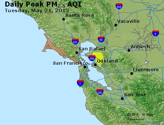 Peak Particles PM<sub>2.5</sub> (24-hour) - http://files.airnowtech.org/airnow/2013/20130521/peak_pm25_sanfrancisco_ca.jpg
