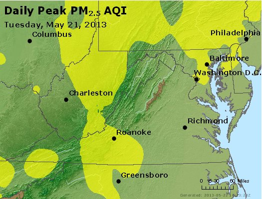 Peak Particles PM<sub>2.5</sub> (24-hour) - http://files.airnowtech.org/airnow/2013/20130521/peak_pm25_va_wv_md_de_dc.jpg