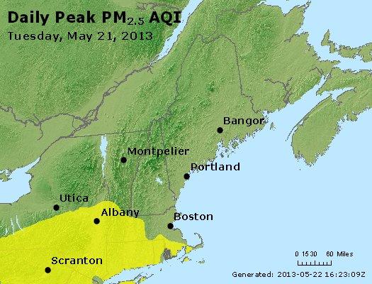 Peak Particles PM<sub>2.5</sub> (24-hour) - http://files.airnowtech.org/airnow/2013/20130521/peak_pm25_vt_nh_ma_ct_ri_me.jpg