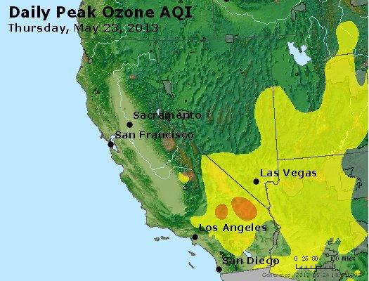 Peak Ozone (8-hour) - http://files.airnowtech.org/airnow/2013/20130523/peak_o3_ca_nv.jpg