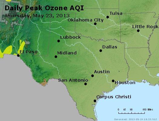 Peak Ozone (8-hour) - http://files.airnowtech.org/airnow/2013/20130523/peak_o3_tx_ok.jpg
