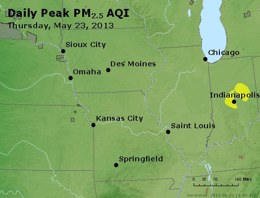 Peak Particles PM<sub>2.5</sub> (24-hour) - http://files.airnowtech.org/airnow/2013/20130523/peak_pm25_ia_il_mo.jpg