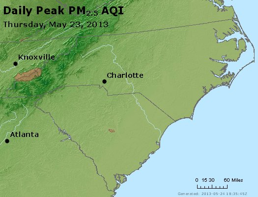 Peak Particles PM<sub>2.5</sub> (24-hour) - http://files.airnowtech.org/airnow/2013/20130523/peak_pm25_nc_sc.jpg