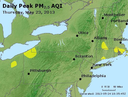 Peak Particles PM<sub>2.5</sub> (24-hour) - http://files.airnowtech.org/airnow/2013/20130523/peak_pm25_ny_pa_nj.jpg