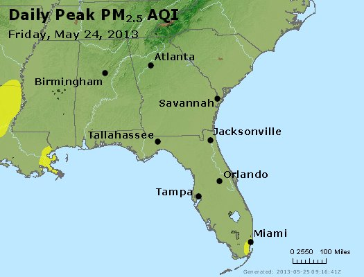 Peak Particles PM<sub>2.5</sub> (24-hour) - http://files.airnowtech.org/airnow/2013/20130524/peak_pm25_al_ga_fl.jpg