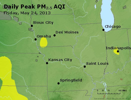 Peak Particles PM<sub>2.5</sub> (24-hour) - http://files.airnowtech.org/airnow/2013/20130524/peak_pm25_ia_il_mo.jpg