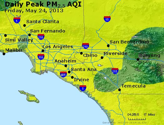 Peak Particles PM<sub>2.5</sub> (24-hour) - http://files.airnowtech.org/airnow/2013/20130524/peak_pm25_losangeles_ca.jpg