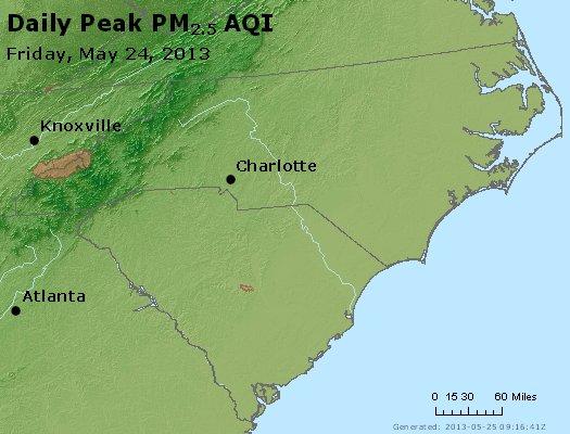 Peak Particles PM<sub>2.5</sub> (24-hour) - http://files.airnowtech.org/airnow/2013/20130524/peak_pm25_nc_sc.jpg