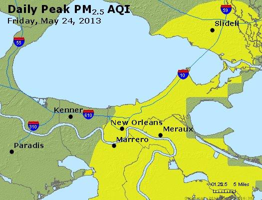 Peak Particles PM<sub>2.5</sub> (24-hour) - http://files.airnowtech.org/airnow/2013/20130524/peak_pm25_neworleans_la.jpg