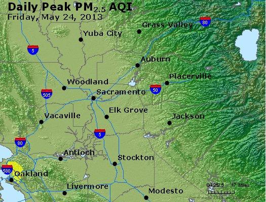 Peak Particles PM<sub>2.5</sub> (24-hour) - http://files.airnowtech.org/airnow/2013/20130524/peak_pm25_sacramento_ca.jpg
