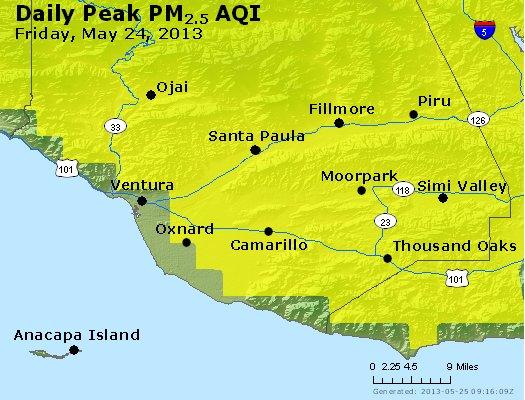 Peak Particles PM<sub>2.5</sub> (24-hour) - http://files.airnowtech.org/airnow/2013/20130524/peak_pm25_ventura.jpg
