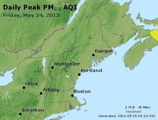 Peak Particles PM<sub>2.5</sub> (24-hour) - http://files.airnowtech.org/airnow/2013/20130524/peak_pm25_vt_nh_ma_ct_ri_me.jpg