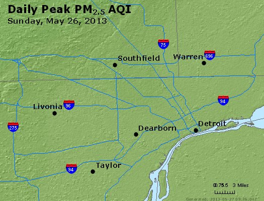Peak Particles PM<sub>2.5</sub> (24-hour) - http://files.airnowtech.org/airnow/2013/20130526/peak_pm25_detroit_mi.jpg