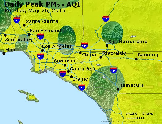 Peak Particles PM<sub>2.5</sub> (24-hour) - http://files.airnowtech.org/airnow/2013/20130526/peak_pm25_losangeles_ca.jpg
