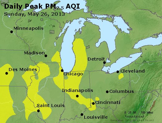Peak Particles PM<sub>2.5</sub> (24-hour) - http://files.airnowtech.org/airnow/2013/20130526/peak_pm25_mi_in_oh.jpg