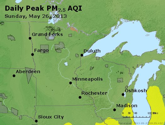 Peak Particles PM<sub>2.5</sub> (24-hour) - http://files.airnowtech.org/airnow/2013/20130526/peak_pm25_mn_wi.jpg