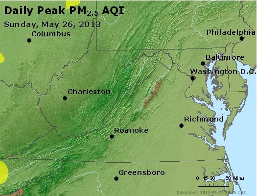 Peak Particles PM<sub>2.5</sub> (24-hour) - http://files.airnowtech.org/airnow/2013/20130526/peak_pm25_va_wv_md_de_dc.jpg