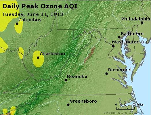 Peak Ozone (8-hour) - http://files.airnowtech.org/airnow/2013/20130611/peak_o3_va_wv_md_de_dc.jpg