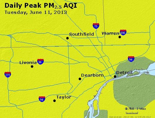 Peak Particles PM<sub>2.5</sub> (24-hour) - http://files.airnowtech.org/airnow/2013/20130611/peak_pm25_detroit_mi.jpg