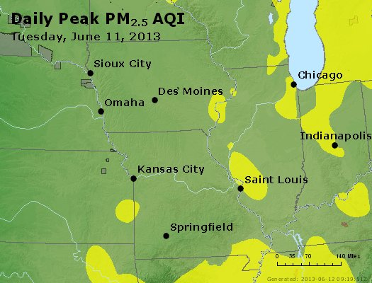 Peak Particles PM<sub>2.5</sub> (24-hour) - http://files.airnowtech.org/airnow/2013/20130611/peak_pm25_ia_il_mo.jpg