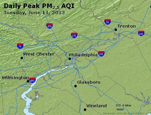 Peak Particles PM<sub>2.5</sub> (24-hour) - http://files.airnowtech.org/airnow/2013/20130611/peak_pm25_philadelphia_pa.jpg
