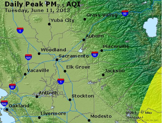 Peak Particles PM<sub>2.5</sub> (24-hour) - http://files.airnowtech.org/airnow/2013/20130611/peak_pm25_sacramento_ca.jpg
