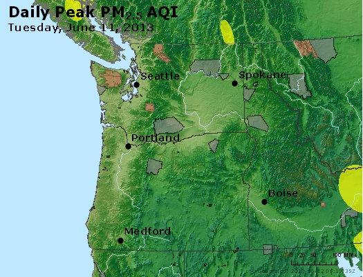 Peak Particles PM<sub>2.5</sub> (24-hour) - http://files.airnowtech.org/airnow/2013/20130611/peak_pm25_wa_or.jpg