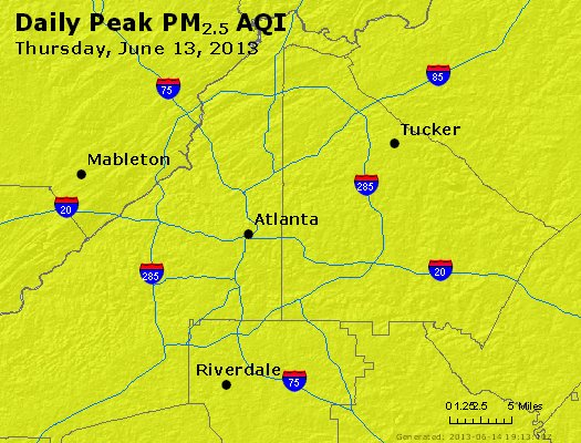Peak Particles PM<sub>2.5</sub> (24-hour) - http://files.airnowtech.org/airnow/2013/20130613/peak_pm25_atlanta_ga.jpg
