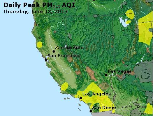 Peak Particles PM<sub>2.5</sub> (24-hour) - http://files.airnowtech.org/airnow/2013/20130613/peak_pm25_ca_nv.jpg