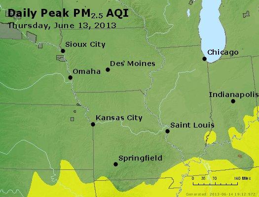 Peak Particles PM<sub>2.5</sub> (24-hour) - http://files.airnowtech.org/airnow/2013/20130613/peak_pm25_ia_il_mo.jpg