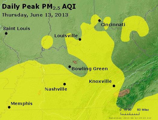 Peak Particles PM<sub>2.5</sub> (24-hour) - http://files.airnowtech.org/airnow/2013/20130613/peak_pm25_ky_tn.jpg