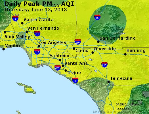 Peak Particles PM<sub>2.5</sub> (24-hour) - http://files.airnowtech.org/airnow/2013/20130613/peak_pm25_losangeles_ca.jpg