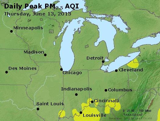 Peak Particles PM<sub>2.5</sub> (24-hour) - http://files.airnowtech.org/airnow/2013/20130613/peak_pm25_mi_in_oh.jpg