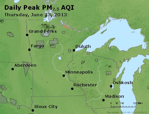 Peak Particles PM<sub>2.5</sub> (24-hour) - http://files.airnowtech.org/airnow/2013/20130613/peak_pm25_mn_wi.jpg