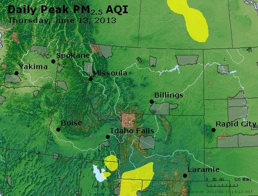 Peak Particles PM<sub>2.5</sub> (24-hour) - http://files.airnowtech.org/airnow/2013/20130613/peak_pm25_mt_id_wy.jpg