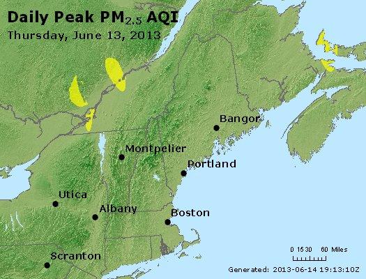 Peak Particles PM<sub>2.5</sub> (24-hour) - http://files.airnowtech.org/airnow/2013/20130613/peak_pm25_vt_nh_ma_ct_ri_me.jpg