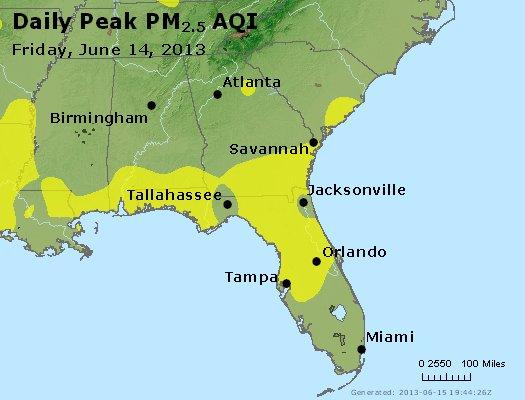 Peak Particles PM<sub>2.5</sub> (24-hour) - http://files.airnowtech.org/airnow/2013/20130614/peak_pm25_al_ga_fl.jpg