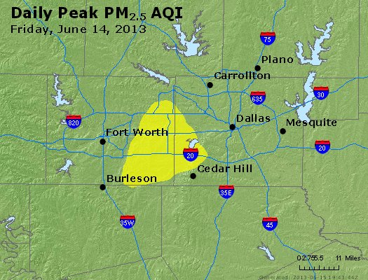 Peak Particles PM<sub>2.5</sub> (24-hour) - http://files.airnowtech.org/airnow/2013/20130614/peak_pm25_dallas_tx.jpg