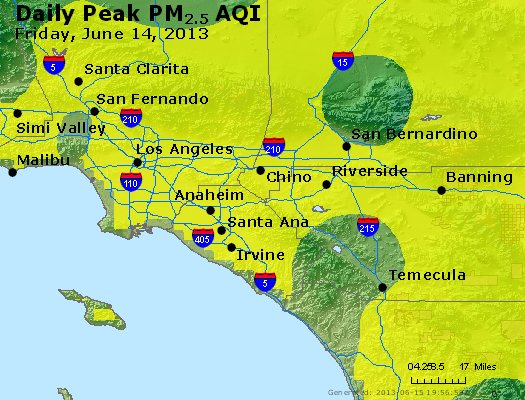 Peak Particles PM<sub>2.5</sub> (24-hour) - http://files.airnowtech.org/airnow/2013/20130614/peak_pm25_losangeles_ca.jpg