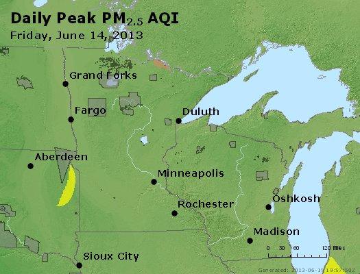 Peak Particles PM<sub>2.5</sub> (24-hour) - http://files.airnowtech.org/airnow/2013/20130614/peak_pm25_mn_wi.jpg