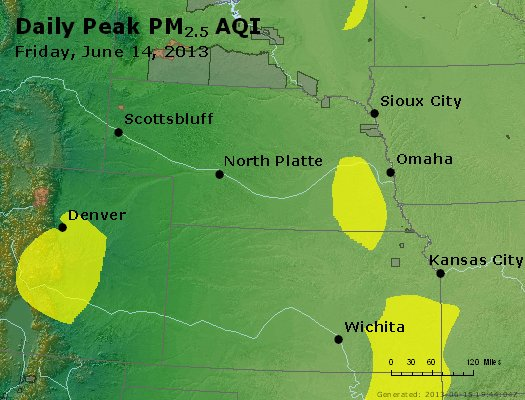 Peak Particles PM<sub>2.5</sub> (24-hour) - http://files.airnowtech.org/airnow/2013/20130614/peak_pm25_ne_ks.jpg
