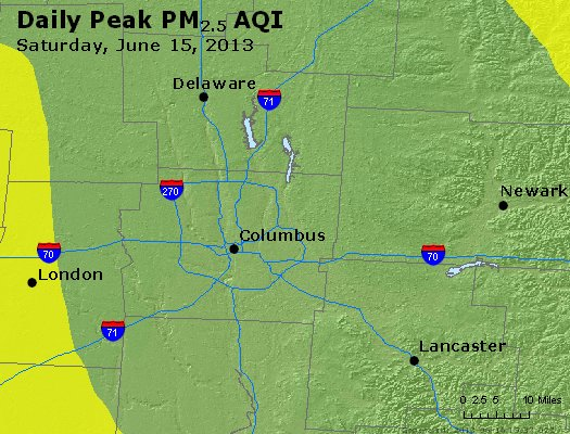 Peak Particles PM<sub>2.5</sub> (24-hour) - http://files.airnowtech.org/airnow/2013/20130615/peak_pm25_columbus_oh.jpg