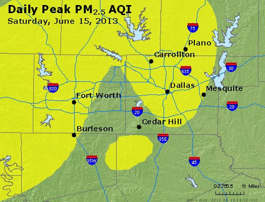 Peak Particles PM<sub>2.5</sub> (24-hour) - http://files.airnowtech.org/airnow/2013/20130615/peak_pm25_dallas_tx.jpg