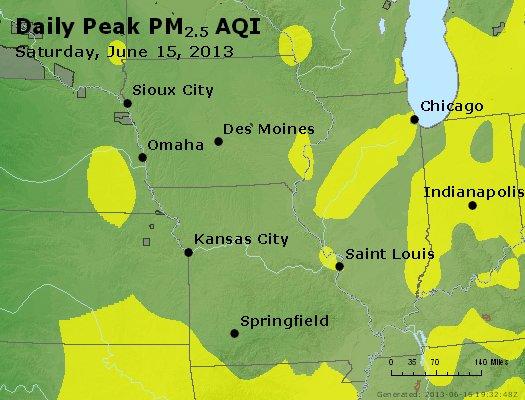Peak Particles PM<sub>2.5</sub> (24-hour) - http://files.airnowtech.org/airnow/2013/20130615/peak_pm25_ia_il_mo.jpg