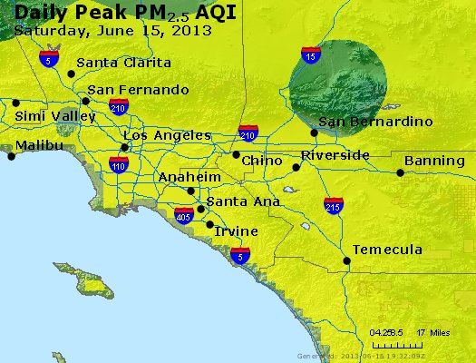 Peak Particles PM<sub>2.5</sub> (24-hour) - http://files.airnowtech.org/airnow/2013/20130615/peak_pm25_losangeles_ca.jpg