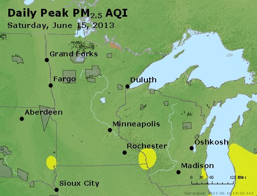 Peak Particles PM<sub>2.5</sub> (24-hour) - http://files.airnowtech.org/airnow/2013/20130615/peak_pm25_mn_wi.jpg